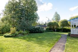 Suuri tasainen puutarhapiha.