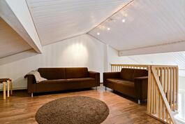 Parvella reilun kokoinen tila/ Rejält med utrymme på loftet.