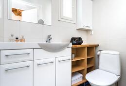 Alakerran erillinen wc on hillityn tyylikäs