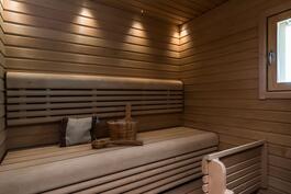 Tunnelmallinen sauna, jossa tyylikkäät lauteet