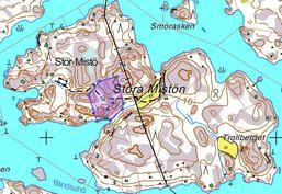 Myytävä alue merkittynä / Området till salu märkt på kartan