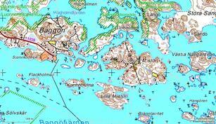Stora Mistö keskellä ja Baggön satama vasemmalla / Stora-Mistö i mitten och Baggö hamn till vänster