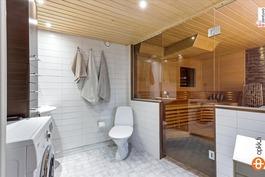 Alakerran pesuhuone, sauna ja wc