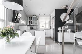 Vaaleanharmaa laattalattia yhdistyy raikkaasti valkoiseen keittiöön ja vaaleanharmaaseen kivitasoon.