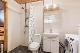Tyylikäs kylpyhuone/wc+kodinhoitotila