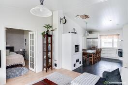 Olohuoneessa ja keittiössä korotettu katto
