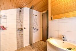 Kylpyhuoneessa on raikas laatoitus.