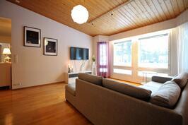 Isot ikkunat olohuoneessa tuovat luonnonvaloa sisään kotiin