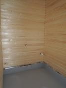 sauna paneloitu ja vesieristys asennettu