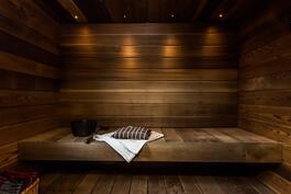 Tunnelmallinen sauna puukiukaalla.