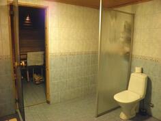 Kellarikerroksen pesutilassa wc-istuin