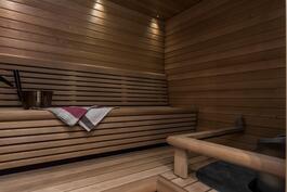 Saunassa on muotoillut lauteet sekä vuolukivikiuas.