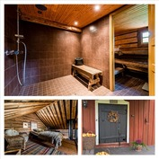 erillinen saunarakennus, jossa parvella nukkumatil