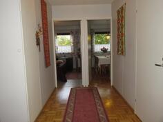Eteinen, käynti keittiöön ja nukkumahuoneeseen, wc/sauna oikealla