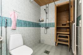suihku saunan oven vieressä