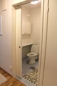 Erillinen WC, jossa on liikkumista helpottava liukuovi.