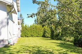 Suojaisa nurmikkopiha talon takana rajautuen kaupungin viheralueeseen