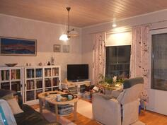 Olohuone on seinäpinnoiltaan vaalea. Lattiassa on parketti