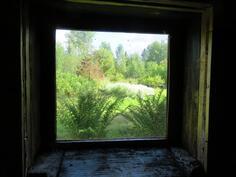 Ulkosaunan ikkunasta näkymä ulos