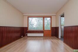 Olohuoneesta käynti parvekkeelle ja keittiöön.