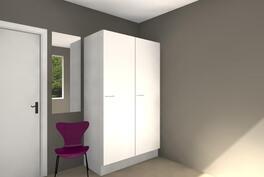 Suuntaa antava kalustekuva makuuhuoneesta (9,4m²)