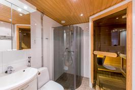 Tilava kylpyhuone, jonne mahtuu hyvin pesutornikin
