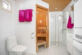 Asunnon kylpyhuone ja sauna