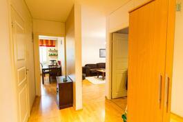 Eteinen, kylpyhuone vasemmalla, keittiö perällä, olohuone oikealla takana