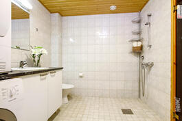 Suuri, vaaleasävyinen kylpyhuone.