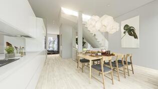 Näkymä, havainnekuva asunnosta D6 keittiöstä olohuoneeseen