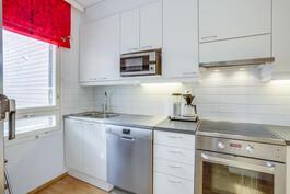 Keittiössä on valkoiset kaapistot ja rosteriset kodinkoneet.