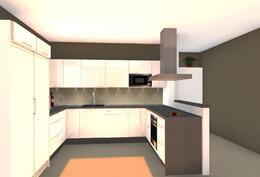 Suuntaa antava kalustekuva keittiöstä