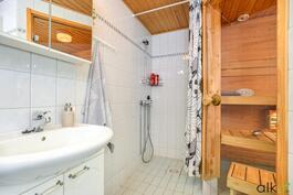 Kylpyhuoneen laatoitus on raikas.
