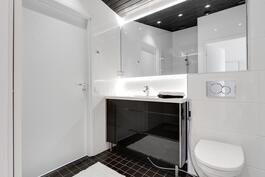 Yläkerran läpikäveltävä kylpyhuone/wc