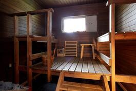 Saunan ikkunasta avara peltomaisema/ Öppen åkerutsikt från bastufönstret.