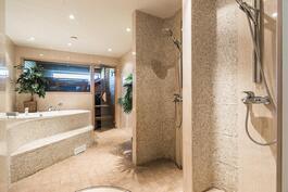 Alakerran tunnelmallisessa saunaosastossa on takkahuone sekä löyly-, pesu- ja pukeutumistilat