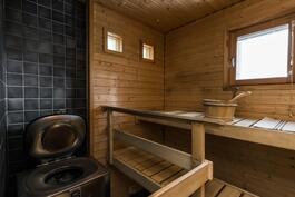 Valoisa sauna, jossa ainavalmis-kiuas