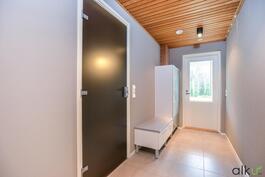 Käytävä tila, joka johtaa kylpyhuoneeseen ja terassille.