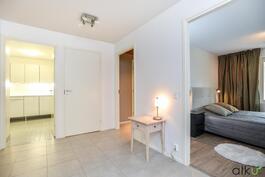Alakerran aulasta pääsee myös kodinhoitohuoneeseen ja kylpyhuoneeseen.