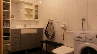 Laatoitetussa kylpyhuone / wc:ssä myös säilytystilaa