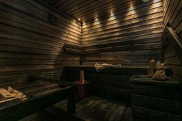 Tunnelmallinen sauna, jossa vuolukivikiuas