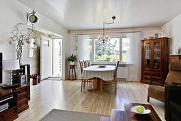 Tilava olohuone, kauniit puulattiat/ Rymligt vardagsrum, vackra trägolv.