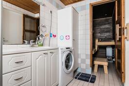 .. jossa mukavasti tilaa myös pyykkihuollolle..