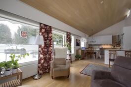 valoisa ja tilava olohuoneen ja keittiön yhdistelmä