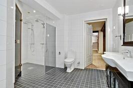 Ylellisen tilavassa pesuhuoneessa kaksi suihkua/ Två duschar i det lyxiga o. stora badrummet.