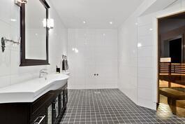 Pesuhuoneessa tila myös esim. poreammeelle/ Utrymme för t.ex. bubbelbadkar.