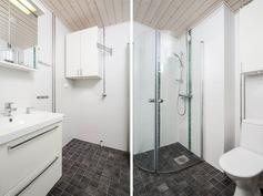 Taittuvat suihkuseinät remontoidussa kylpyhuoneess