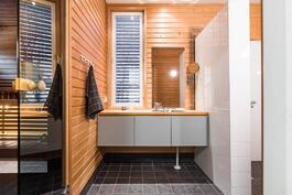 Pesuhuoneen yhteydessä on laskeutumistilaa.