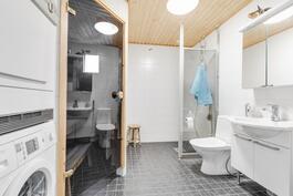 tilavassa kylpyhuoneessa hyvä tila pesutornille