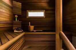 Näyttävä sauna ainavalmis-kiukaalla